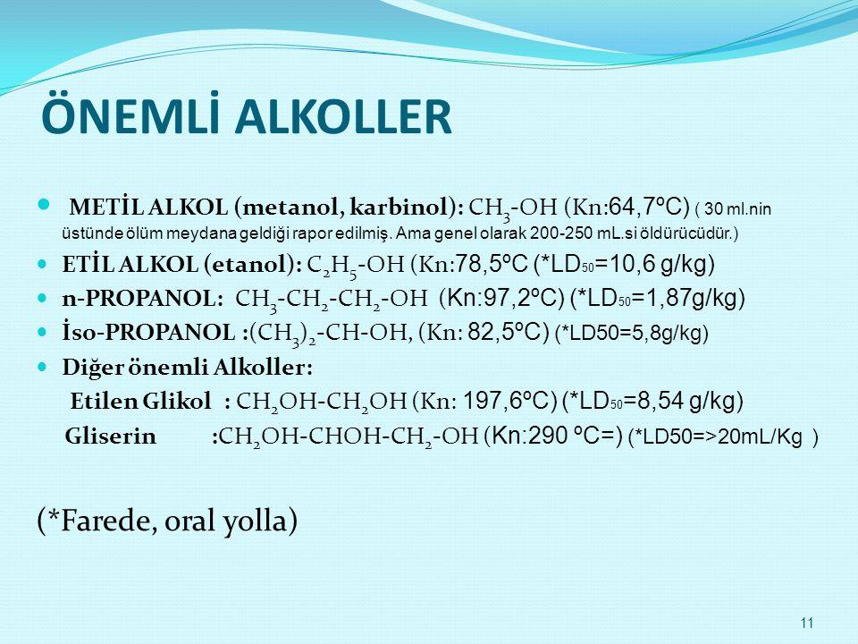 ÖNEMLİ ALKOLLER  METİL ALKOL (metanol, karbinol): CH 3 -OH (Kn: 64,7ºC) ( 30 ml.nin üstünde ölüm meydana geldiği rapor edilmiş. Ama genel olarak 200-
