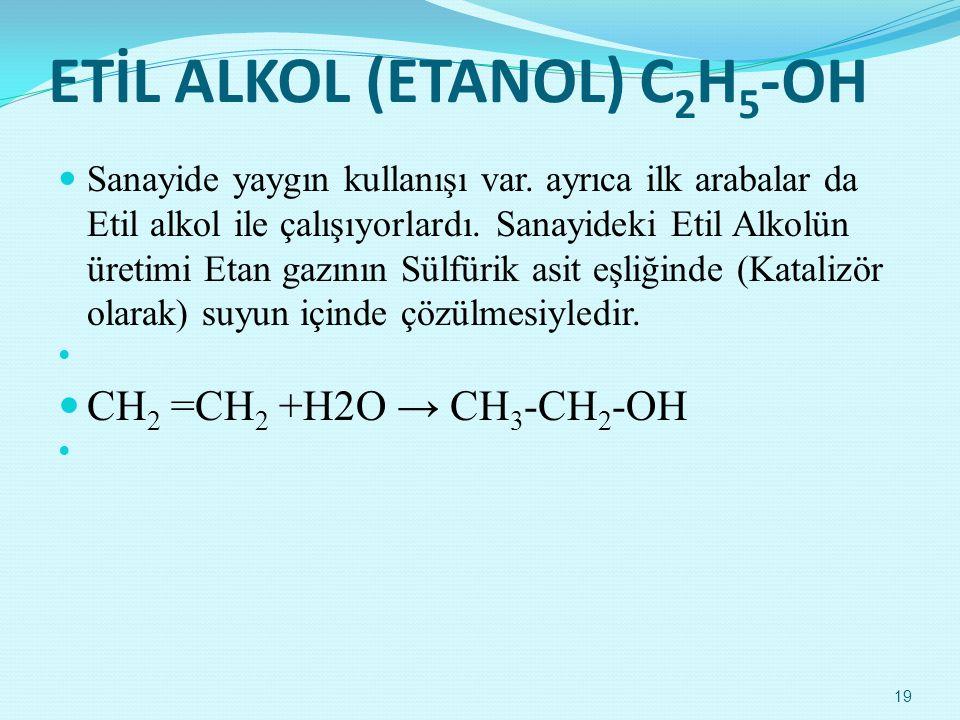 ETİL ALKOL (ETANOL) C 2 H 5 -OH  Sanayide yaygın kullanışı var. ayrıca ilk arabalar da Etil alkol ile çalışıyorlardı. Sanayideki Etil Alkolün üretimi