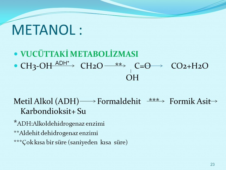 METANOL :  VUCÜTTAKİ METABOLİZMASI  CH3-OH CH2O ** C=O CO2+H2O OH Metil Alkol (ADH) Formaldehit *** Formik Asit Karbondioksit+ Su * ADH:Alkoldehidro