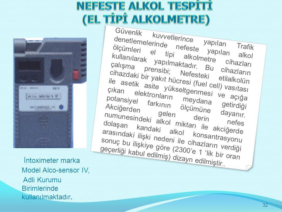 İntoximeter marka Model Alco-sensor IV, Adli Kurumu Birimlerinde kullanılmaktadır. Güvenlik kuvvetlerince yapılan Trafik denetlemelerinde nefeste yapı