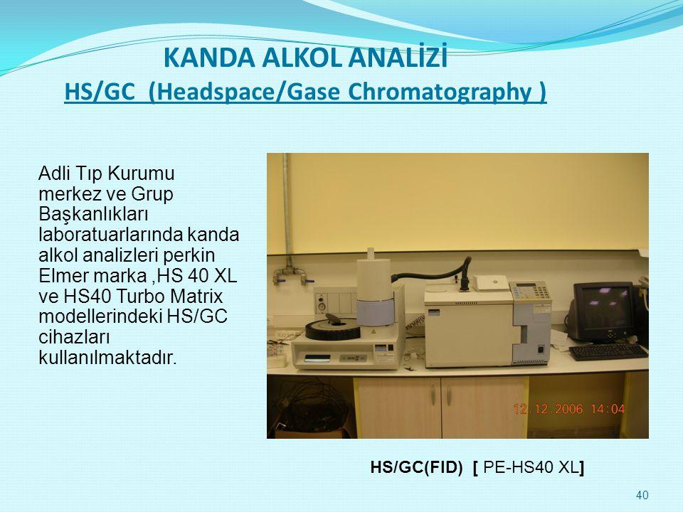KANDA ALKOL ANALİZİ HS/GC (Headspace/Gase Chromatography ) Adli Tıp Kurumu merkez ve Grup Başkanlıkları laboratuarlarında kanda alkol analizleri perkin Elmer marka,HS 40 XL ve HS40 Turbo Matrix modellerindeki HS/GC cihazları kullanılmaktadır.