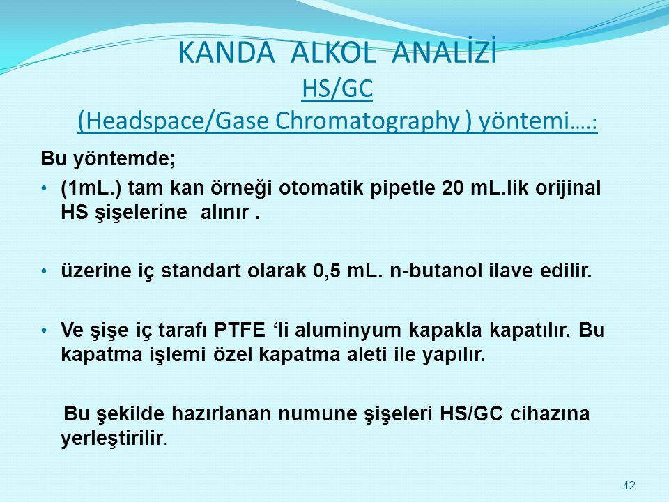 KANDA ALKOL ANALİZİ HS/GC (Headspace/Gase Chromatography ) yöntemi ….: Bu yöntemde; • (1mL.) tam kan örneği otomatik pipetle 20 mL.lik orijinal HS şişelerine alınır.