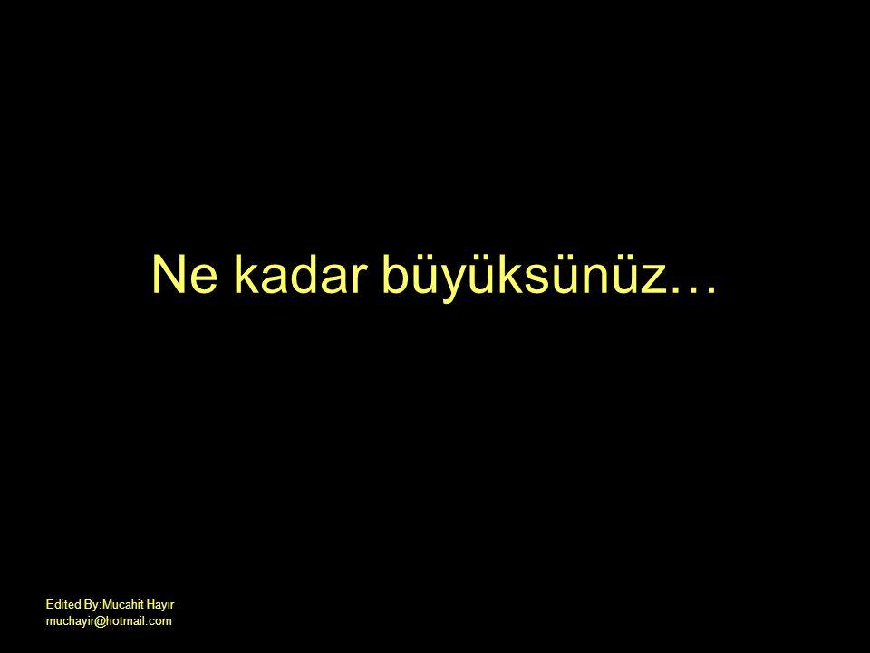 Ne kadar büyüksünüz… Edited By:Mucahit Hayır muchayir@hotmail.com