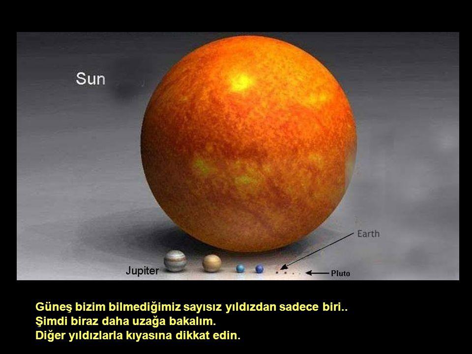 Güneş bizim bilmediğimiz sayısız yıldızdan sadece biri.. Şimdi biraz daha uzağa bakalım. Diğer yıldızlarla kıyasına dikkat edin.