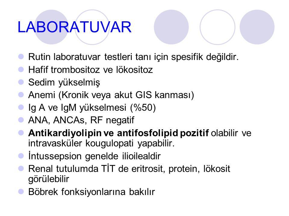 LABORATUVAR  Rutin laboratuvar testleri tanı için spesifik değildir.  Hafif trombositoz ve lökositoz  Sedim yükselmiş  Anemi (Kronik veya akut GIS