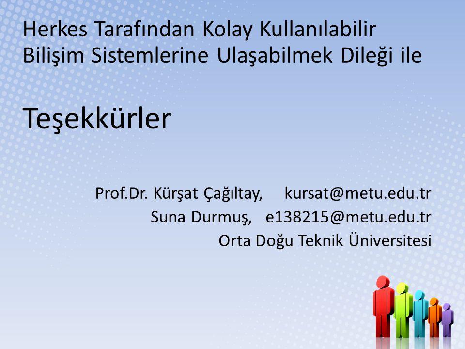Herkes Tarafından Kolay Kullanılabilir Bilişim Sistemlerine Ulaşabilmek Dileği ile Teşekkürler Prof.Dr. Kürşat Çağıltay, kursat@metu.edu.tr Suna Durmu