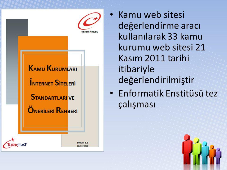 • Kamu web sitesi değerlendirme aracı kullanılarak 33 kamu kurumu web sitesi 21 Kasım 2011 tarihi itibariyle değerlendirilmiştir • Enformatik Enstitüs