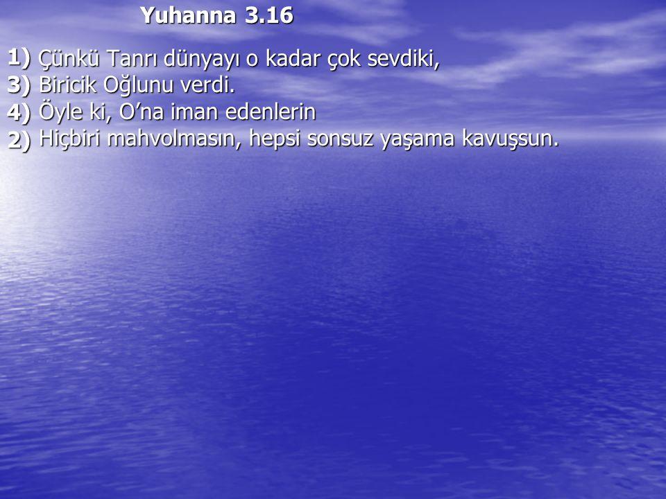 Yuhanna 3.16 Çünkü Tanrı dünyayı o kadar çok sevdiki, Çünkü Tanrı dünyayı o kadar çok sevdiki, Biricik Oğlunu verdi. Biricik Oğlunu verdi. Öyle ki, O'