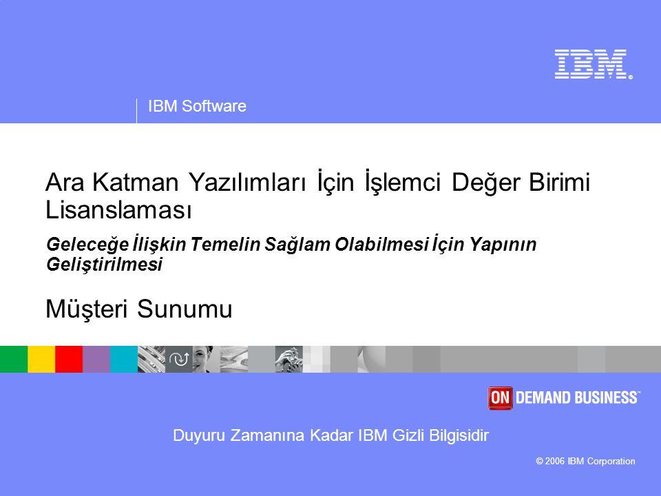 Duyuru Zamanına Kadar IBM Gizli Bilgisidir ® IBM Software © 2006 IBM Corporation Ara Katman Yazılımları İçin İşlemci Değer Birimi Lisanslaması Geleceğe İlişkin Temelin Sağlam Olabilmesi İçin Yapının Geliştirilmesi Müşteri Sunumu