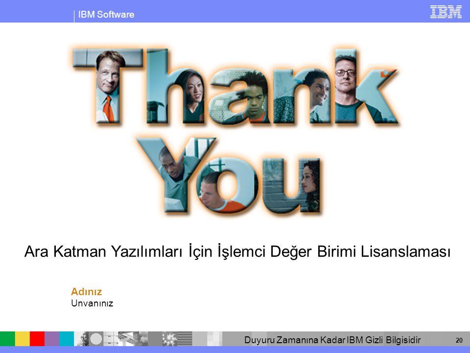IBM Software Duyuru Zamanına Kadar IBM Gizli Bilgisidir 20 Adınız Unvanınız Ara Katman Yazılımları İçin İşlemci Değer Birimi Lisanslaması