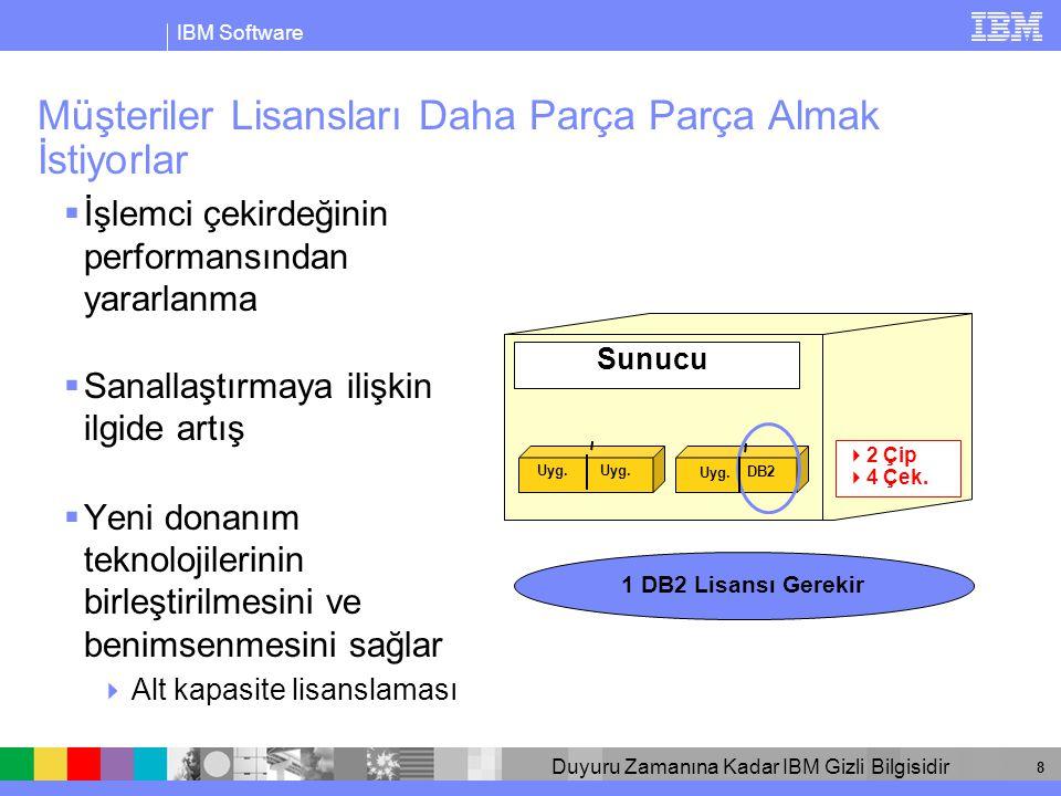 IBM Software Duyuru Zamanına Kadar IBM Gizli Bilgisidir 8 Müşteriler Lisansları Daha Parça Parça Almak İstiyorlar  İşlemci çekirdeğinin performansından yararlanma  Sanallaştırmaya ilişkin ilgide artış  Yeni donanım teknolojilerinin birleştirilmesini ve benimsenmesini sağlar  Alt kapasite lisanslaması Sunucu 1 DB2 Lisansı Gerekir  2 Çip  4 Çek.
