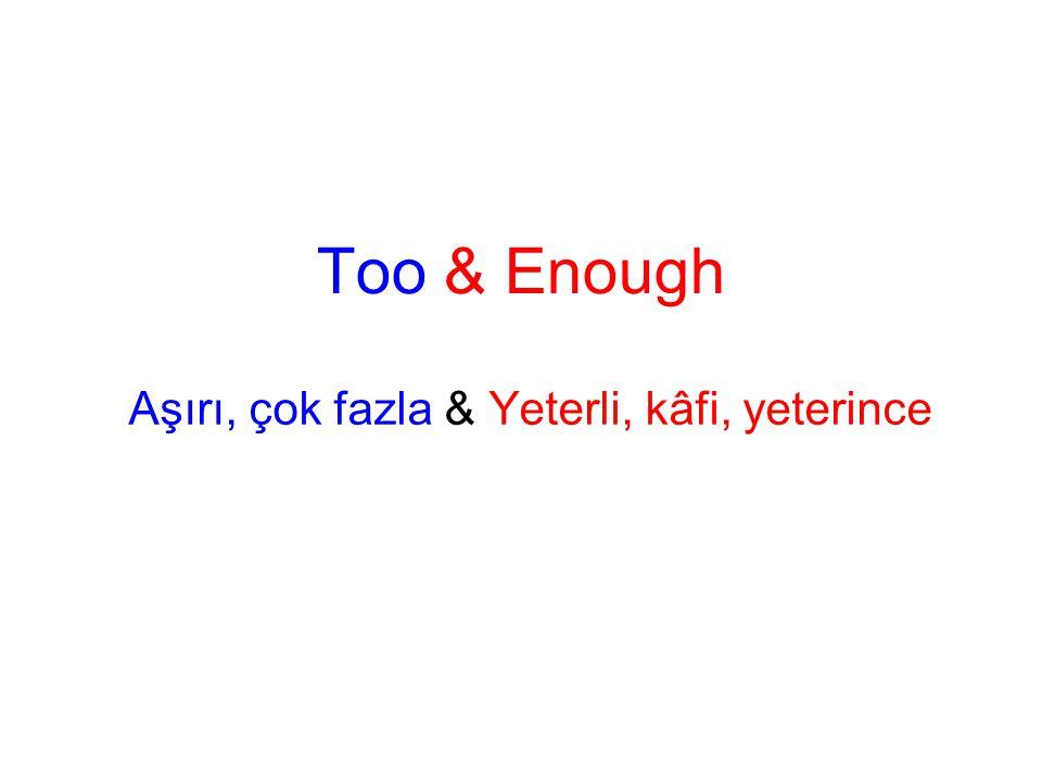 •TOO = excess fazla, aşırı,çok, •TOO = more than necessary gerekenden fazla, lazım olandan fazla •TOO Sıfat ve zarflarla kullanıldığı zaman AŞIRILIK ifade eder.