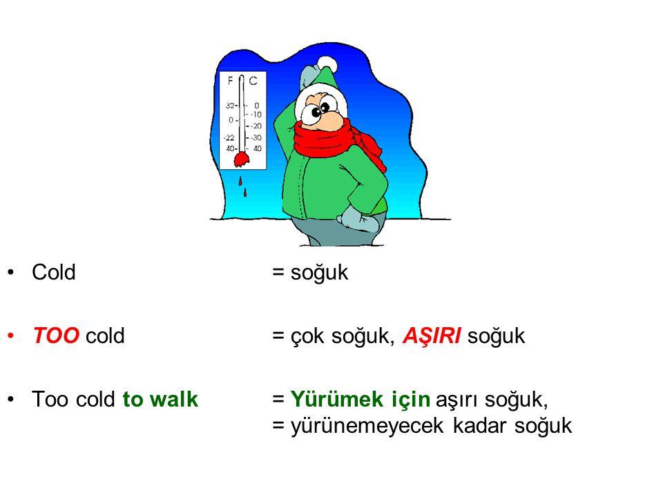 •Cold= soğuk •TOO cold= çok soğuk, AŞIRI soğuk •Too cold to walk = Yürümek için aşırı soğuk, = yürünemeyecek kadar soğuk