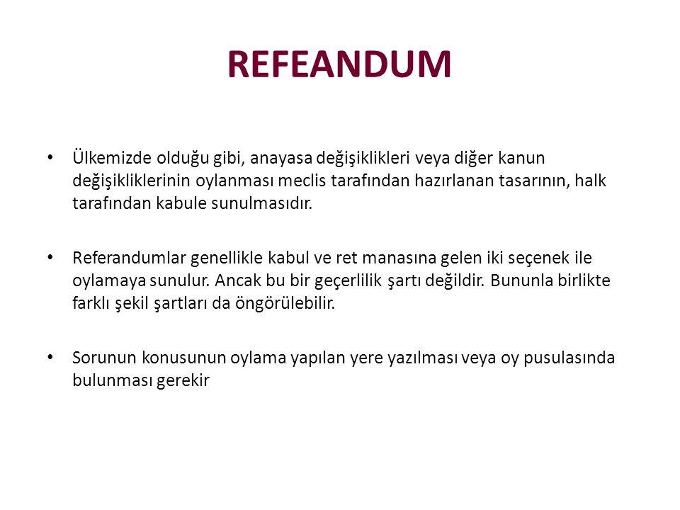 • Ülkemizde olduğu gibi, anayasa değişiklikleri veya diğer kanun değişikliklerinin oylanması meclis tarafından hazırlanan tasarının, halk tarafından k