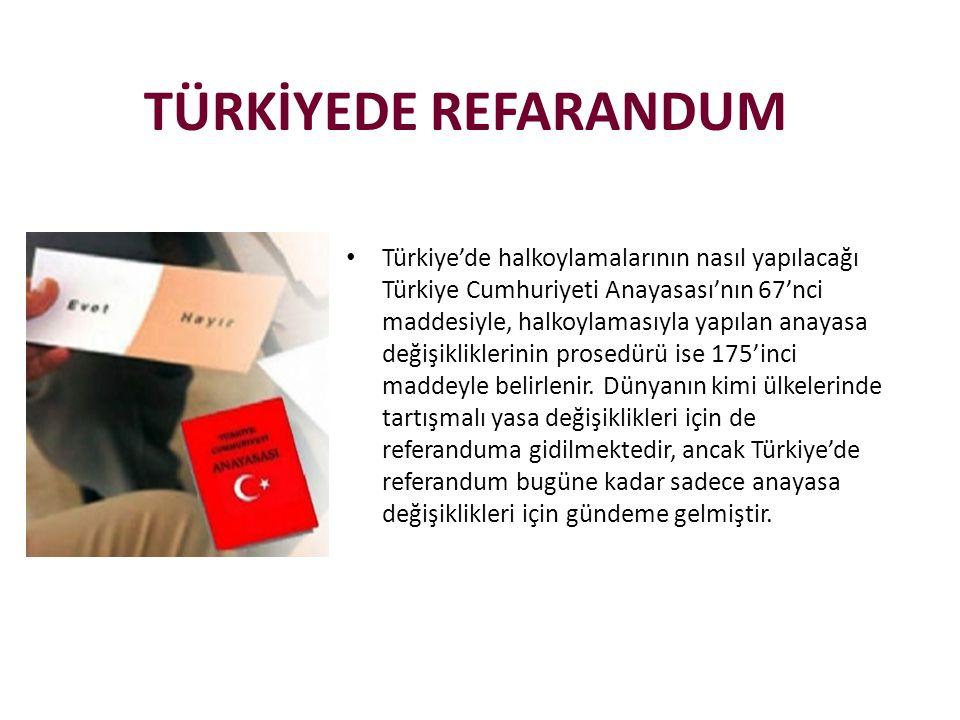 TÜRKİYEDE REFARANDUM • Türkiye'de halkoylamalarının nasıl yapılacağı Türkiye Cumhuriyeti Anayasası'nın 67'nci maddesiyle, halkoylamasıyla yapılan anayasa değişikliklerinin prosedürü ise 175'inci maddeyle belirlenir.