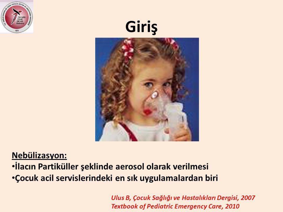 Giriş Nebülizasyon: • İlacın Partiküller şeklinde aerosol olarak verilmesi • Çocuk acil servislerindeki en sık uygulamalardan biri Ulus B, Çocuk Sağlı