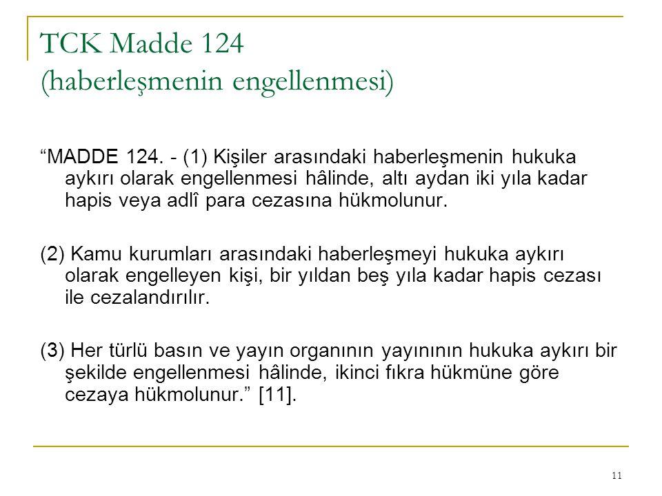 11 TCK Madde 124 (haberleşmenin engellenmesi) MADDE 124.