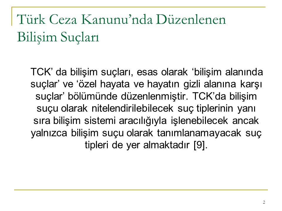 2 Türk Ceza Kanunu'nda Düzenlenen Bilişim Suçları TCK' da bilişim suçları, esas olarak 'bilişim alanında suçlar' ve 'özel hayata ve hayatın gizli alanına karşı suçlar' bölümünde düzenlenmiştir.