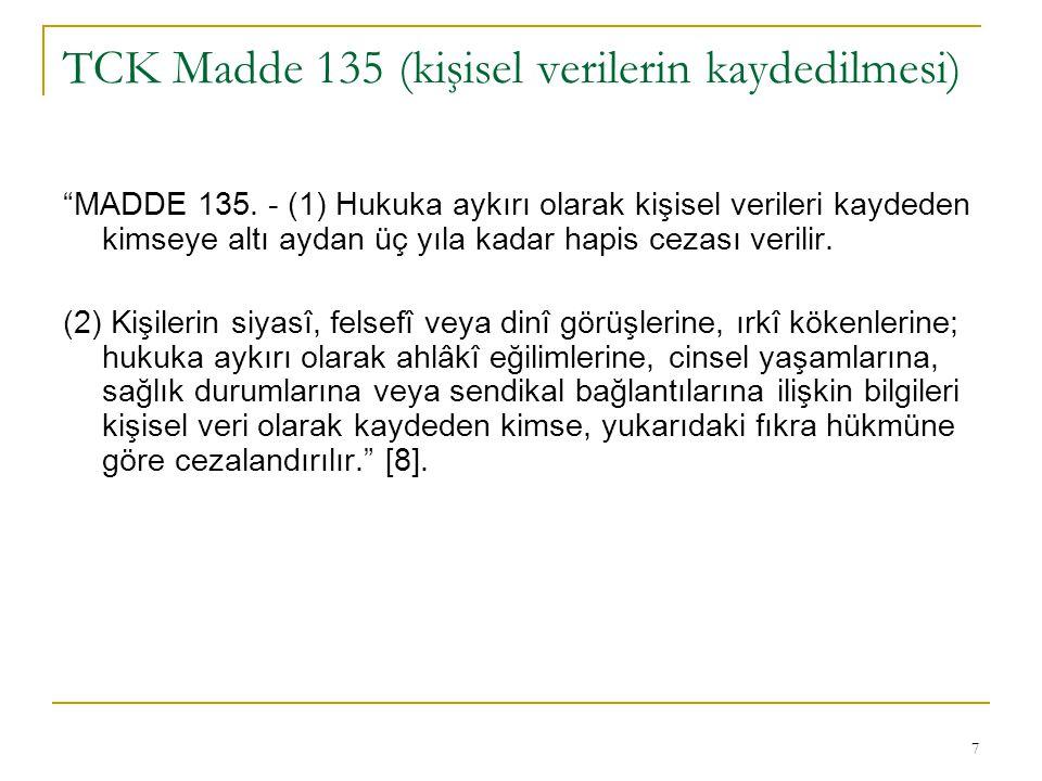 7 TCK Madde 135 (kişisel verilerin kaydedilmesi) MADDE 135.