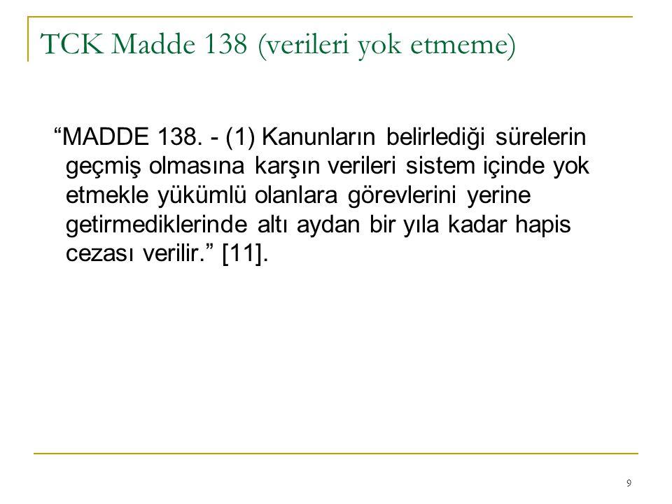 9 TCK Madde 138 (verileri yok etmeme) MADDE 138.