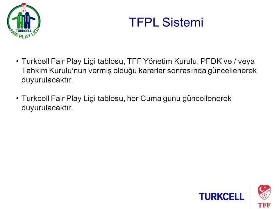TFPL Sistemi •Turkcell Fair Play Ligi tablosu, TFF Yönetim Kurulu, PFDK ve / veya Tahkim Kurulu'nun vermiş olduğu kararlar sonrasında güncellenerek duyurulacaktır.
