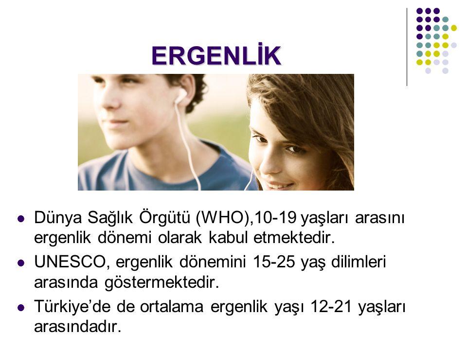 ERGENLİK  Dünya Sağlık Örgütü (WHO),10-19 yaşları arasını ergenlik dönemi olarak kabul etmektedir.
