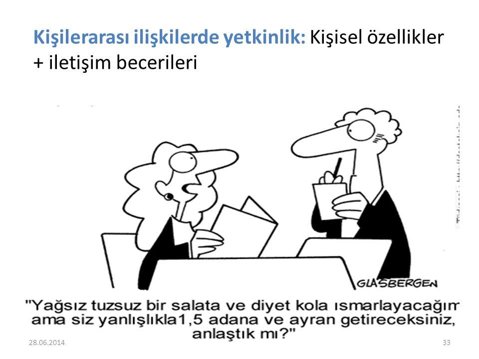 Kişilerarası ilişkilerde yetkinlik: Kişisel özellikler + iletişim becerileri 28.06.201433
