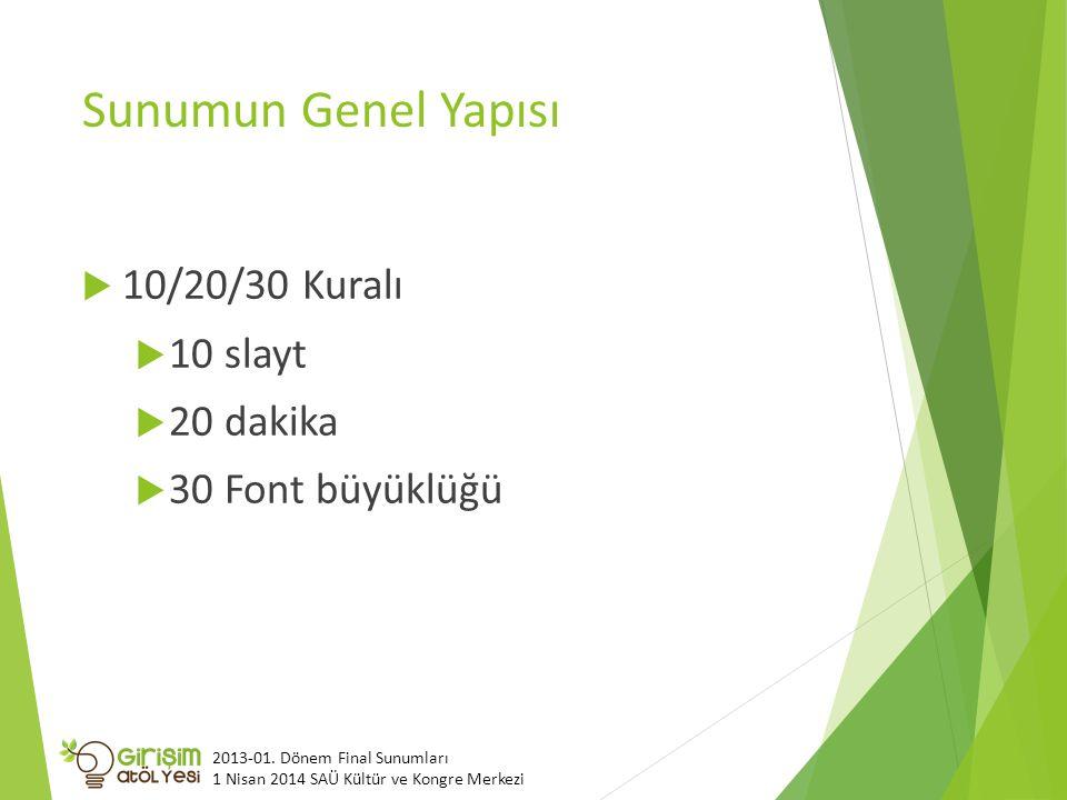 Sunumun Genel Yapısı  10/20/30 Kuralı  10 slayt  20 dakika  30 Font büyüklüğü 2013-01.