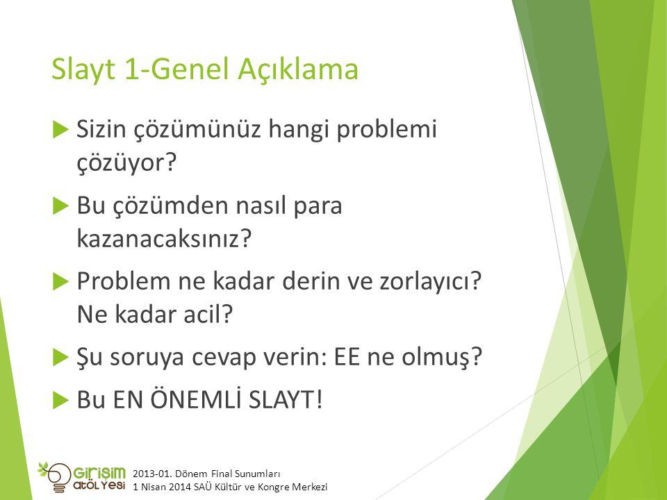 Slayt 1-Genel Açıklama  Sizin çözümünüz hangi problemi çözüyor.