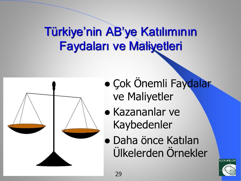 Türkiye'nin AB'ye Katılımının Faydaları ve Maliyetleri  Çok Önemli Faydalar ve Maliyetler  Kazananlar ve Kaybedenler  Daha önce Katılan Ülkelerden