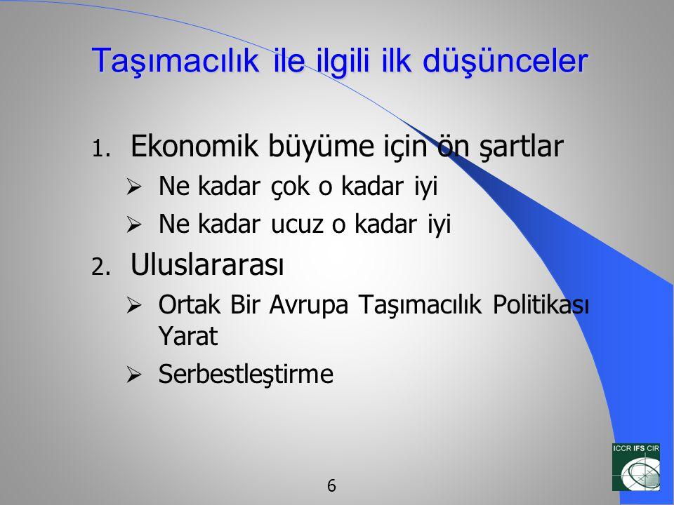 Türkiye için Taşımacılık Altyapısı İhtiyaç Değerlendirmesi Öncelikler:  13 demiryolu projesi Elektrik uygulaması, çift hat, radyusun genişletilmesi, yenileme  8 karayolu projesi Yeni karayolları veya mevcutların genişletilmesi  4 liman projesi Genellikle konteynır terminalleri 17