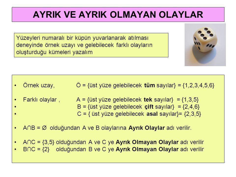 AYRIK VE AYRIK OLMAYAN OLAYLAR •Örnek uzay, Ö = {üst yüze gelebilecek tüm sayılar} = {1,2,3,4,5,6} •Farklı olaylar, A = {üst yüze gelebilecek tek sayılar} = {1,3,5} • B = {üst yüze gelebilecek çift sayılar} = {2,4,6} • C = { üst yüze gelebilecek asal sayılar}= {2,3,5} •A∩B = Ø olduğundan A ve B olaylarına Ayrık Olaylar adı verilir.