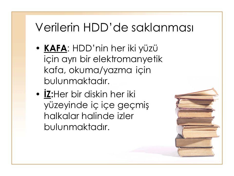 Verilerin HDD'de saklanması • KAFA : HDD'nin her iki yüzü için ayrı bir elektromanyetik kafa, okuma/yazma için bulunmaktadır. • İZ: Her bir diskin her