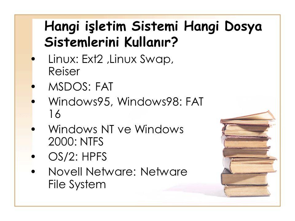 Hangi işletim Sistemi Hangi Dosya Sistemlerini Kullanır? •Linux: Ext2,Linux Swap, Reiser •MSDOS: FAT •Windows95, Windows98: FAT 16 •Windows NT ve Wind