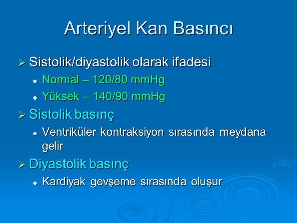 Arteriyel Kan Basıncı  Sistolik/diyastolik olarak ifadesi  Normal – 120/80 mmHg  Yüksek – 140/90 mmHg  Sistolik basınç  Ventriküler kontraksiyon