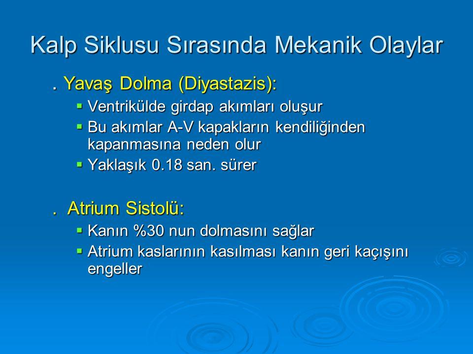 Kalp Siklusu Sırasında Basınç-Volüm Eğrisi:   End-systolic volume (ESV)   End-diastolic volume (EDV)   İsovolumic relaxation   İsovolumic contraction   Stroke volume (SV): SV = EDV - ESV