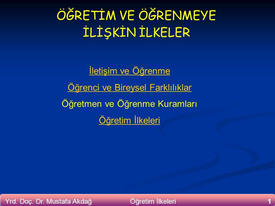 1Yrd. Doç. Dr. Mustafa Akdağ Öğretim İlkeleri ÖĞRETİM VE ÖĞRENMEYE İLİŞKİN İLKELER İletişim ve Öğrenme Öğrenci ve Bireysel Farklılıklar Öğretmen ve Öğ