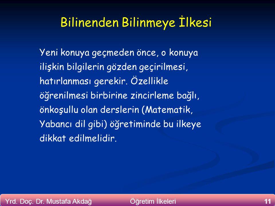11Yrd. Doç. Dr. Mustafa Akdağ Öğretim İlkeleri Bilinenden Bilinmeye İlkesi Yeni konuya geçmeden önce, o konuya ilişkin bilgilerin gözden geçirilmesi,