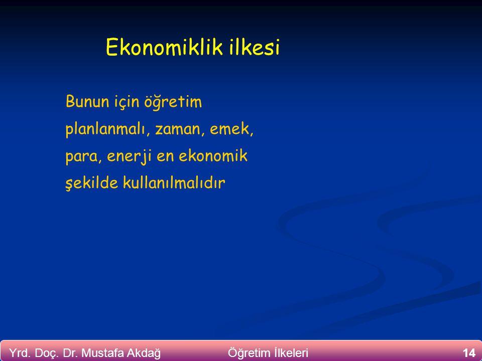 14Yrd. Doç. Dr. Mustafa Akdağ Öğretim İlkeleri Ekonomiklik ilkesi Bunun için öğretim planlanmalı, zaman, emek, para, enerji en ekonomik şekilde kullan
