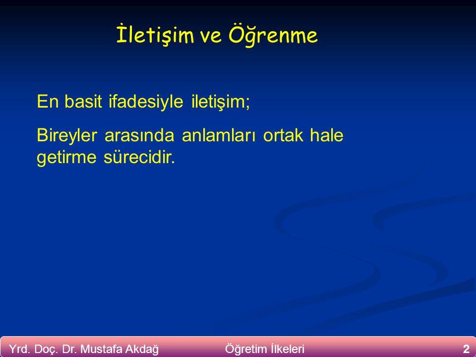 2Yrd. Doç. Dr. Mustafa Akdağ Öğretim İlkeleri İletişim ve Öğrenme En basit ifadesiyle iletişim; Bireyler arasında anlamları ortak hale getirme sürecid