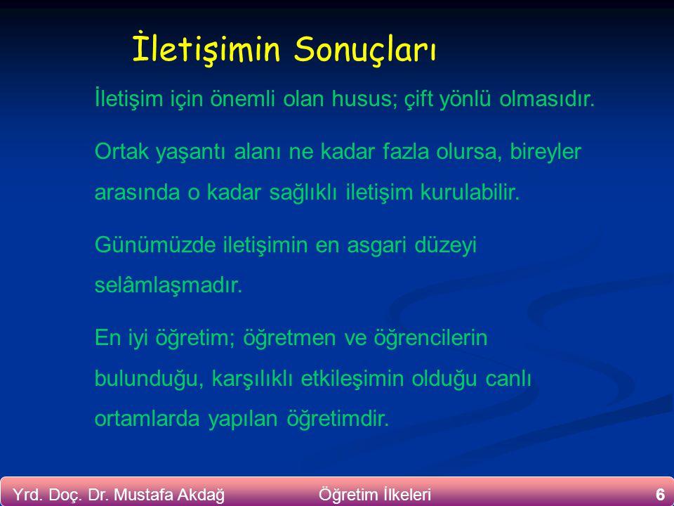 6Yrd. Doç. Dr. Mustafa Akdağ Öğretim İlkeleri İletişim için önemli olan husus; çift yönlü olmasıdır. Ortak yaşantı alanı ne kadar fazla olursa, bireyl