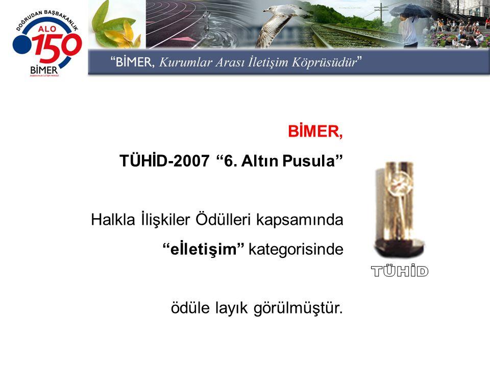 """BİMER, TÜHİD-2007 """"6. Altın Pusula"""" Halkla İlişkiler Ödülleri kapsamında """"eİletişim"""" kategorisinde ödüle layık görülmüştür."""