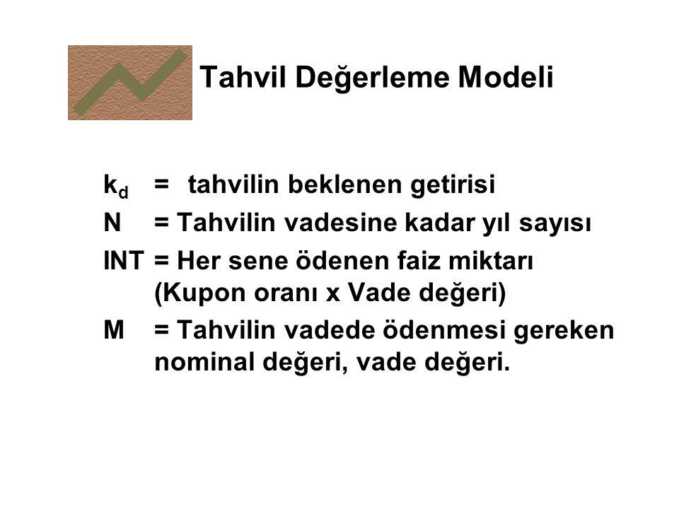 Tahvil Değerleme Modeli k d = tahvilin beklenen getirisi N = Tahvilin vadesine kadar yıl sayısı INT = Her sene ödenen faiz miktarı (Kupon oranı x Vade değeri) M = Tahvilin vadede ödenmesi gereken nominal değeri, vade değeri.