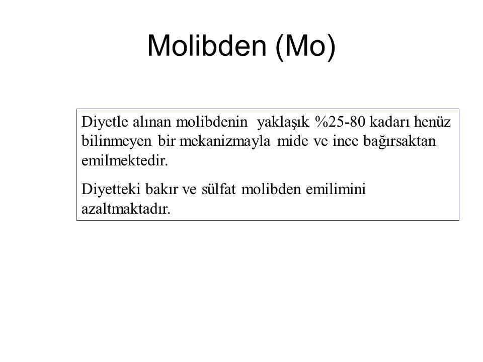 Molibden (Mo) Diyetle alınan molibdenin yaklaşık %25-80 kadarı henüz bilinmeyen bir mekanizmayla mide ve ince bağırsaktan emilmektedir. Diyetteki bakı