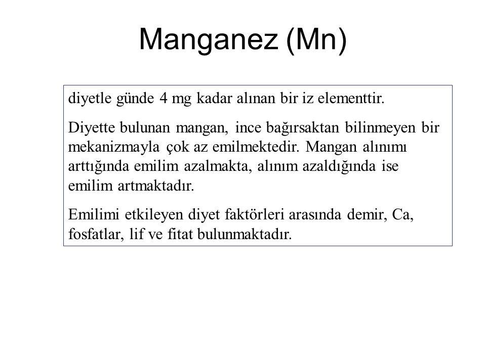 Manganez (Mn) diyetle günde 4 mg kadar alınan bir iz elementtir. Diyette bulunan mangan, ince bağırsaktan bilinmeyen bir mekanizmayla çok az emilmekte