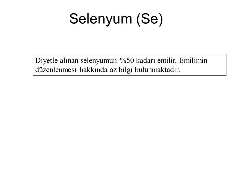 Selenyum (Se) Diyetle alınan selenyumun %50 kadarı emilir. Emilimin düzenlenmesi hakkında az bilgi bulunmaktadır.