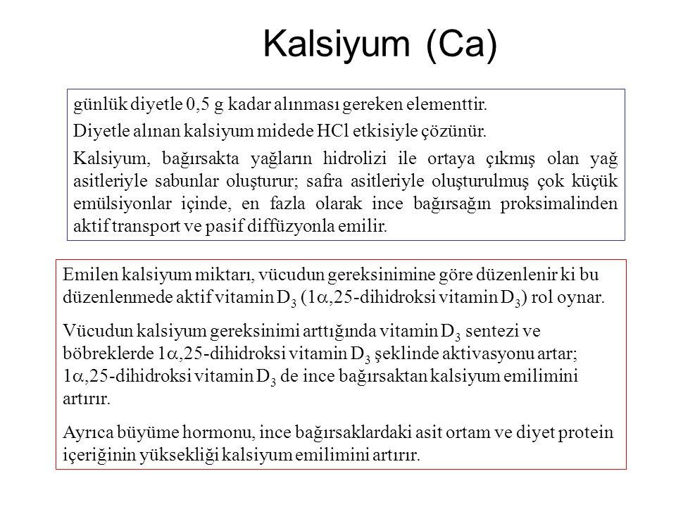Kalsiyum (Ca) günlük diyetle 0,5 g kadar alınması gereken elementtir. Diyetle alınan kalsiyum midede HCl etkisiyle çözünür. Kalsiyum, bağırsakta yağla