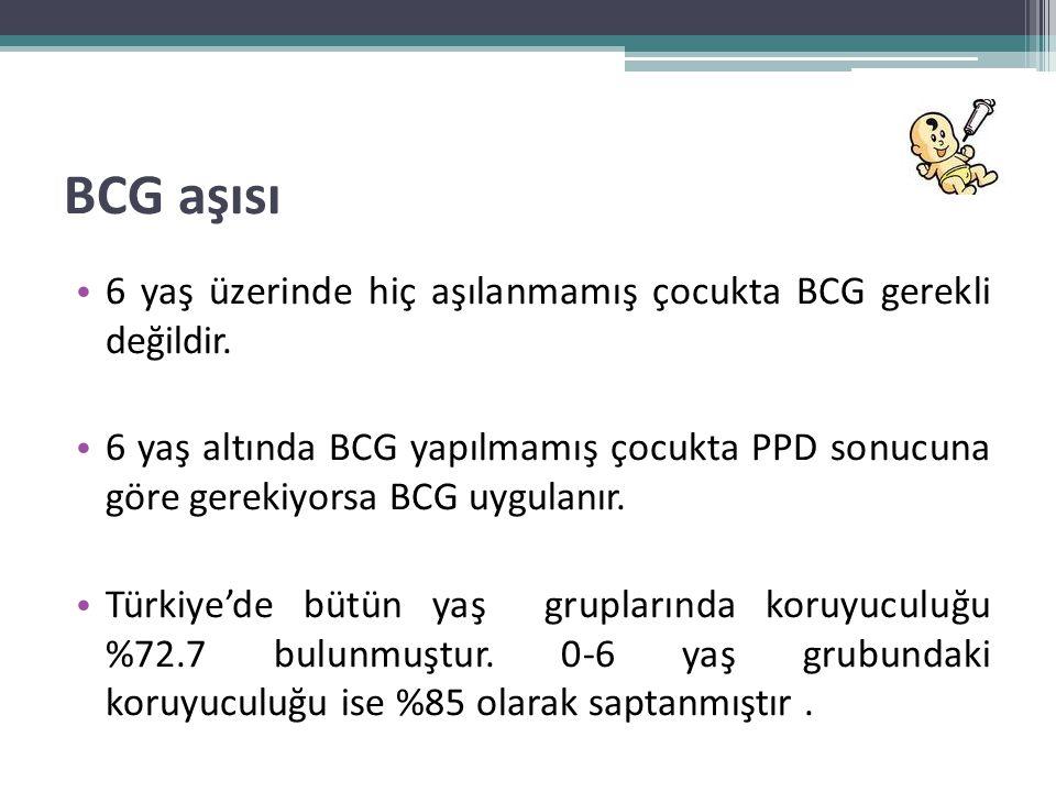 BCG aşısı • 6 yaş üzerinde hiç aşılanmamış çocukta BCG gerekli değildir. • 6 yaş altında BCG yapılmamış çocukta PPD sonucuna göre gerekiyorsa BCG uygu