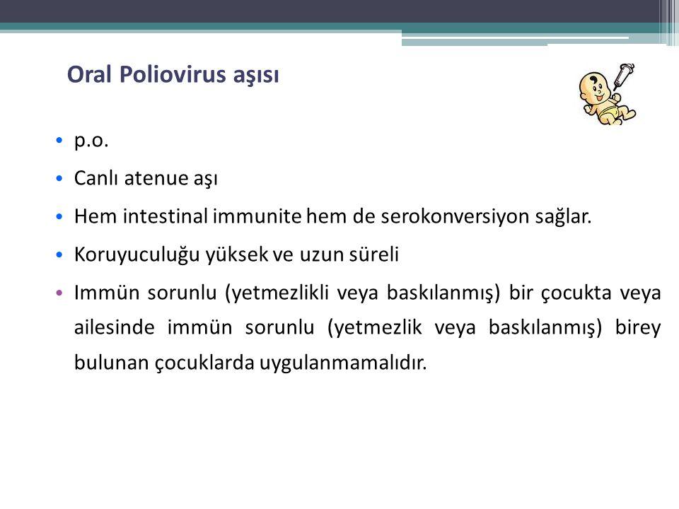 Oral Poliovirus aşısı • p.o. • Canlı atenue aşı • Hem intestinal immunite hem de serokonversiyon sağlar. • Koruyuculuğu yüksek ve uzun süreli • Immün