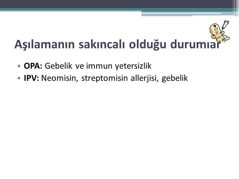 Aşılamanın sakıncalı olduğu durumlar • OPA: Gebelik ve immun yetersizlik • IPV: Neomisin, streptomisin allerjisi, gebelik